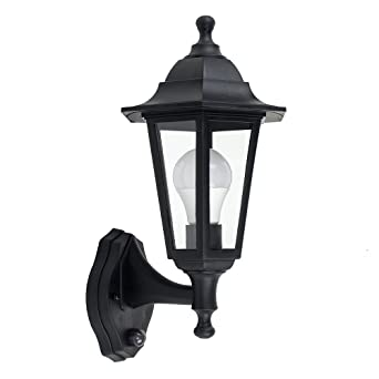 Traditional Style Black Outdoor Security PIR Motion Sensor IP44 Rated Wall Light Lantern