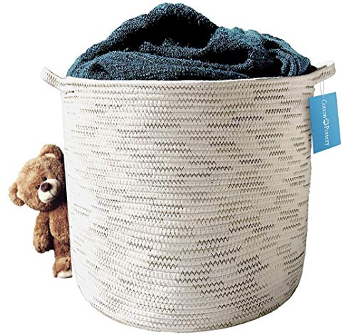 Cotton Rope Basket (Natural) - Blanket Basket, Storage for Baby Toys, Pillows, Towels, Laundry, Nursery Hamper/Organizer - Large 17 inch x 15 inch Round Woven Baskets with Handles, Living Room Decor ()