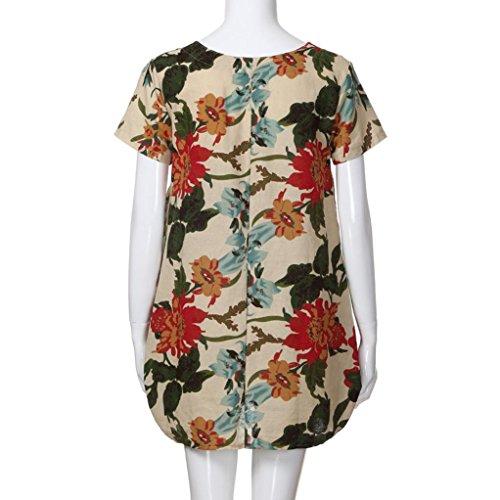 Imprimer V Floral Dress Bohe Beige Dcontracte T Robe Mini Courtes Mode Sexy Simple Doux Femme Lache Manches Chic lgant Col zpvUqfwx