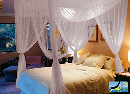 Cheapest Prices! Just Relax Four Corner Post Elegant Mosquito Net Bed Canopy Set, White, Full/Queen/...