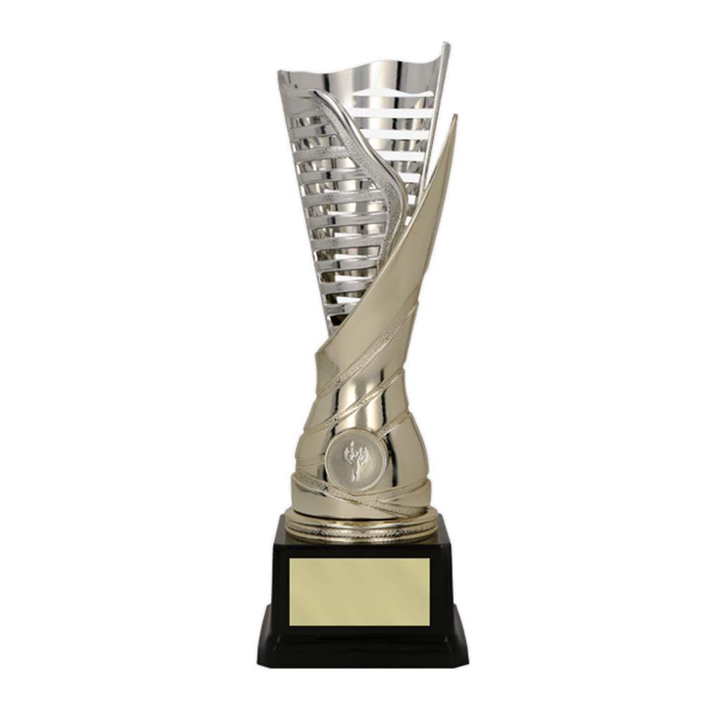 RaRu Extravaganter Sport-Pokal mit 1-Emblem Flamme silbergold mit Ihrer Wunschgravur 3 Sticker