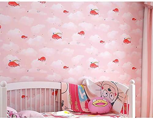 漫画クジラと雲の壁カバー,じゃない-不織 布 壁紙 ロール,かわいい壁壁画男の子の子供の子供'S ルーム ピンク 0.53*10m