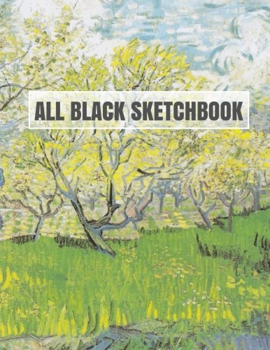 All Black Sketchbook: Van Gogh Flowering Orchids (Journal, Diary) 8.5 x 11, 100 Pages