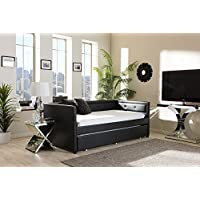 Baxton Studio Frank Faux Leather Twin Daybed in Black