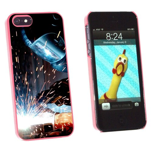 Graphics and More Welder Welding Hot Metal Worker - Soldering Snap-On Hard Protective Case for Apple iPhone 5/5s - Non-Retail Packaging - Pink