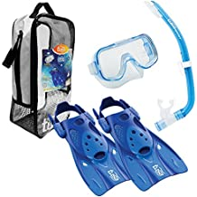 TUSA Sport Youth Mini-Kleio Hyperdry Mask, Snorkel, Fin Travel Set