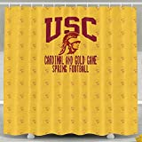IWKULAD USC Trojans Cardinal And Gold Game Spring Football Customized Shower Curtains