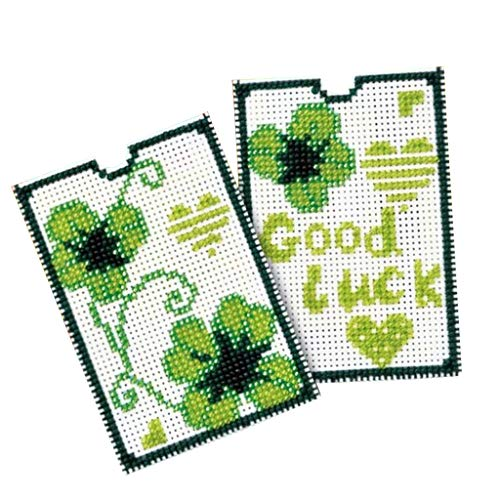 Prettyia Fashion Unfinished Beaded Counted Cross Stitch Card Sleeve Set Kit Cross-Stitching Gift Crafts - Green ()