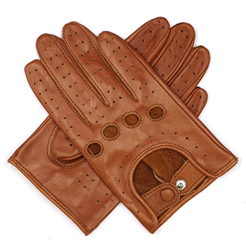 - Harssidanzar Womens Luxury Italian Lambskin Leather Driving Gloves Unlined Vintage Finished, Saddle, M