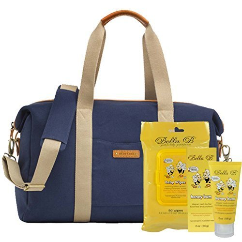Bundle -3 Items:Storksak Bailey Weekender Diaper Bag Canvas -Navy Blue & Bella B Honey Bum 2 oz & Bella B Babywipes 50 - Blue Baily
