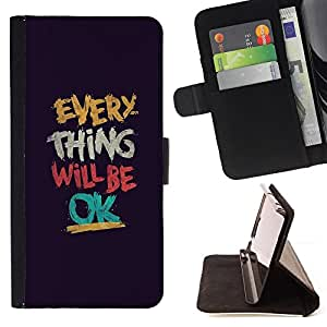 Jordan Colourful Shop - Everything Will Be Ok Motivational For Apple Iphone 6 PLUS 5.5 - Leather Case Absorci???¡¯???€????€???????&bd
