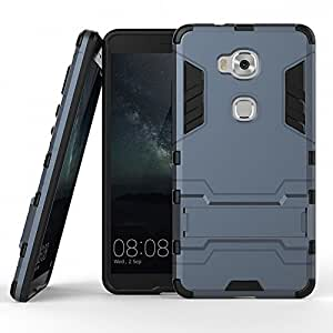 DWay Honor 5X Case Armor Design with Stand Feature 2 In 1 Combo Dual Layer Detachable Protective Shell Phone Hard Back Case Cover for Huawei Honor 5X 5.5inches (Black Plus Gray)
