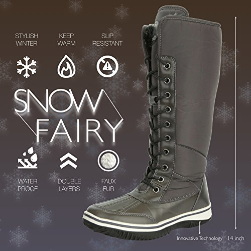 D'Cor Gray Resistant Cowboy DailyShoes Water Tone Snow Eskimo Knee Women's up High Fur Boots 2 Zipper Warm aqwYf7gq
