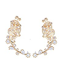 EAR VINES Butterfly Ear Cuff Pin CZ Crystal Ear Climbers Earrings
