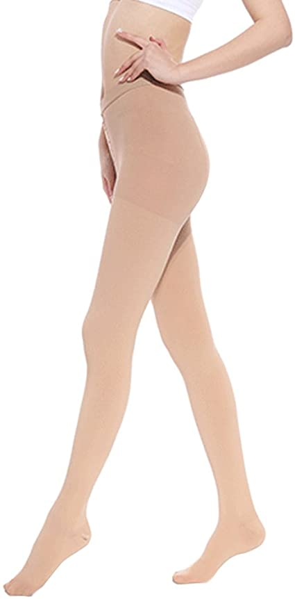 Song Qing Women Compression Pantyhose Tights 30-40 mmHg Socks for Pregnancy Varicose Veins Pants Hose Stockings Leggings Beige,Footless