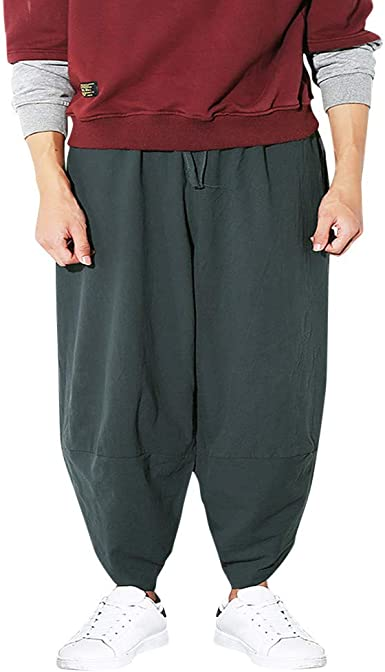 Men Cropped Pants Harem Style Trousers Baggy Loose Ankle Length Boho