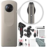Ricoh Theta SC 360° Spherical Video/Still Digital Camera (Sand) with Bike Mount, Xpix Stable Tripod, and Deluxe Camera Lens Cleaning Kit