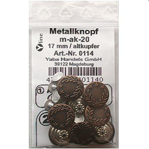 8 St. Metallknöpfe / Jeansknöpfe 17 mm altkupfer nähfrei im Polybeutel, m-ak-20