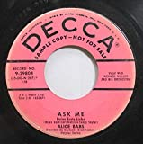 Alice Babs 45 RPM Ask Me / Open The Window Of Your Heart