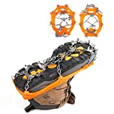 Boot Ice Cleats Crampon 18 Teeth Anti-Slip Stainless Traction Spikes Gripper For Shoes and Boots in Winter Walking Hiking On Snow & Ice (2017 Updated Version) (Orange)