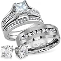 Bellux Style His and Hers Engagement Wedding Rings Bands Set Stainless Steel Cubic Zirconia Promise Anniversary Ring for Women CZ Couples Bridal Sets Men's Matching Band with Free 6mm Stud Earrings