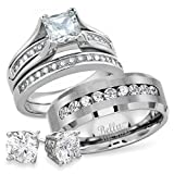 His and Hers Stainless Steel Princess Wedding Ring Set & Beveled Edge Wedding CZ Band Free Sterling Silver Earrings (Women's Size 09 & Men's Size 10)