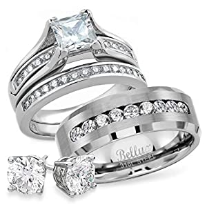 Bellux Style Wedding Rings Set for Him and Her 3-Piece Stainless Steel CZ Promise Rings for Couples Matching His and Hers Rings Wedding Bands Mens and Womens Ring Jewelry Set with Stud Earrings