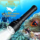 DOTSOG Diving Flashlight,3600 Lumens Underwater Scuba Flashlight, Underwater 80M Flashlight for Diving Activities, Torch Light with Rechargeable 18650 Battery