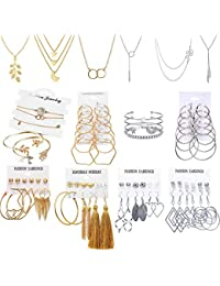 51 PCS Gold Silver Jewelry Set with 6 PCS Necklace,9 PCS Bracelet,36 PCS Layered Ball Dangle Hoop Stud Earrings for Women Jewelry Fashion and Valentine Birthday Party Gift