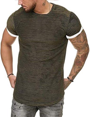 Mens Stripe Muscle T Shirt Crewneck Short Sleeve Athletic Shirts Gym Bodybuilding Tee Top