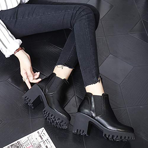 Elasticizzati Elasticizzati Elasticizzati Stivali Black Donna Quadrato Quadrato Quadrato Tacco Piattaforma PU Stivaletti Pelle Martin BwwZqga4