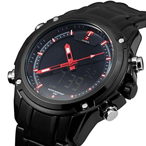 Zeiger New Men Analog Digital Sport Watch Black Stainless Steel Military Aviator Pilot LED Display Watch for Men (Shock Analog)