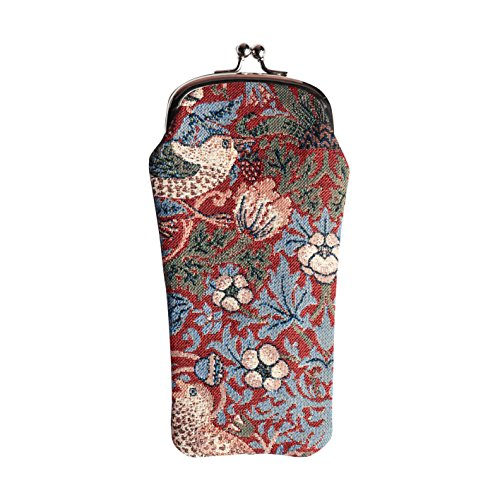 Red Floral William Morris Strawberry Thief Tapestry Eyeglasses Pouch Sunglasses Bag Spectacle Pouch by Signare - Thieves Sunglasses