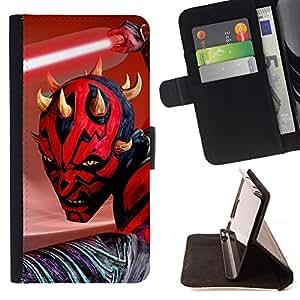 - Darth Maul Jedi - - Prima caja de la PU billetera de cuero con ranuras para tarjetas, efectivo desmontable correa para l Funny HouseFOR Samsung Galaxy S4 IV I9500