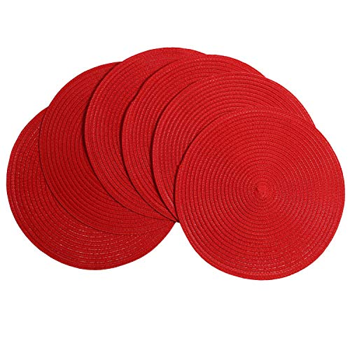 SHACOS Round Placemats Set of 6 Braided Place Mats for Dining Tables Kitchen Table Mats Washable (Red, 6) -