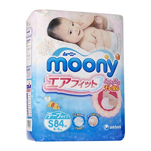 Japanese Soft Diapers - Nappies NEW Moony Air Fit, Small, (84 Psc) Irritation Free, for Extra Sensitive Skin, Leaks Free