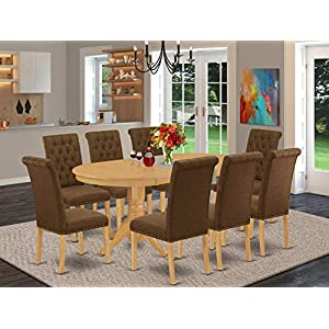 Dining Table-9Pc-Dining-Set-Includes-an-Oval-Dining-Table-with-Butterfly-Leaf-and-Eight-Parson-Chairs-with-Dark-Coffee-Fabric-Oak-Finish