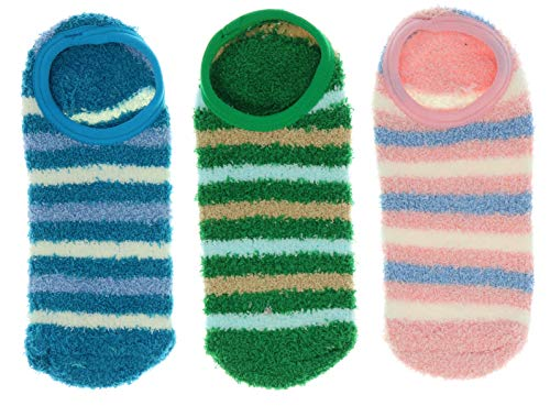 Comfy Women's Fuzzy Ankle Slipper Socks with Grippers (3Pr) (Pink, Blue, Green)