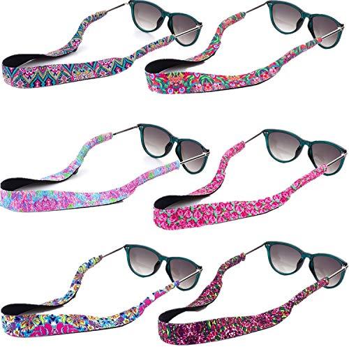 6 Pack Men Women Sunglass Holder Strap Safety Floating Neoprene Eyewear Retainer for All Water Sports Fishing Biking Hiking Rock Climbing Outdoor Adventures