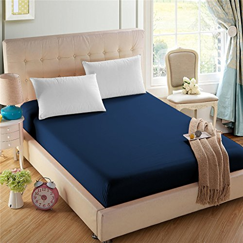 - 4U LIFE Bedding Fitted Sheet-Prime 1800 Series, Double Brushed Microfiber,Ultra-Soft Feel and Wrinkle,Fade Free, Deep Pocket for Oversized Mattress, Full, Navy