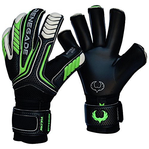 Fingersave Goalkeeper Gloves - R-GK Vulcan Abyss Roll Cut (Size 6) Goalkeeper Gloves Men & Women with Pro Fingersaves - Improve Confidence & Performance - Outdoor or Indoor Soccer - Adult, Youth, Kids