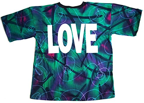 T-Shirt LOVE Nr. 8 Größe XL Batik Baumwolle beidseitig Siebdruck Original 1990er Jahre