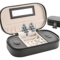 LELADY Small Jewelry Box Portable Travel Jewelry Case Organizer Faux Leather Storage Holder with Mirror for Earrings Rings Necklaces, Gifts for Women Girls Small Size (Black)