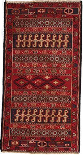 RugInRoll Turkish Hand-Knotted Rahra Pattern, Soumak Design, Wool on Wool, Antique, Handmade Area Rug, (1' 9