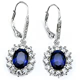 Sapphire & White Topaz Simulated Oval-cut Halo Leverback Dangle Earrings for Women Girls