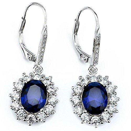 Ladies Fashion Drop ([Valentines Day Gift] YFN 925 Sterling Silver Snowflake Flower Blue &White Crystal Leverback Dangle Women Earring)