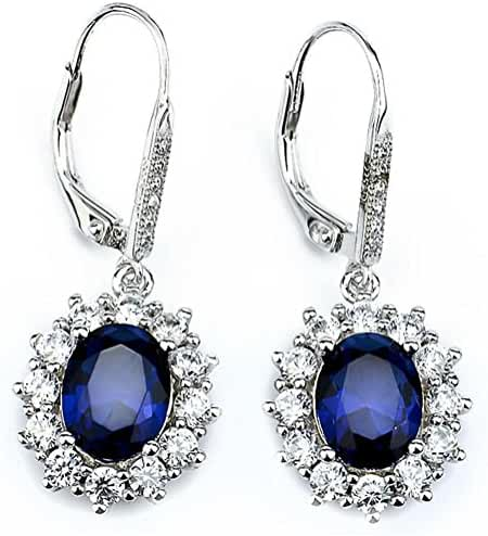 Silver Mountain Sterling Silver Diamond Accent Blue&White Zircon Oval Leverback Dangle Earrings