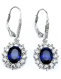 [Valentines Day Gift] YFN 925 Sterling Silver Snowflake Flower Blue &White Crystal Leverback Dangle Women Earring