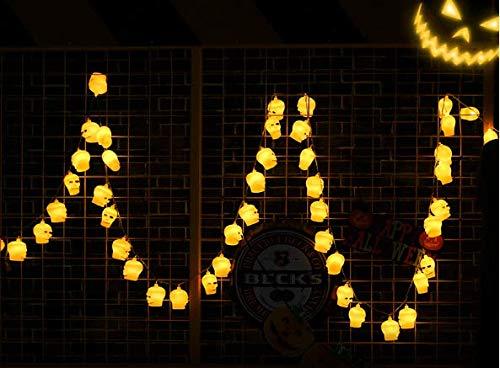 BT Halloween Pumpkin Light String, Lantern Pumpkin Light Battery Style/Power Style LED Fairy Light String - 12.8/32.8 ft 16/100 LED Decorative Light (Yellow Bone (Battery), -