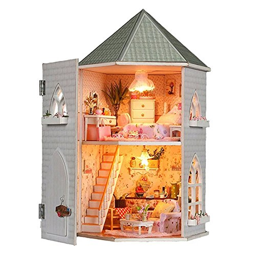 Fonture Love Castle Dollhouse DIY, Wood Dollhouse Miniature with Light and Furniture Educational Present